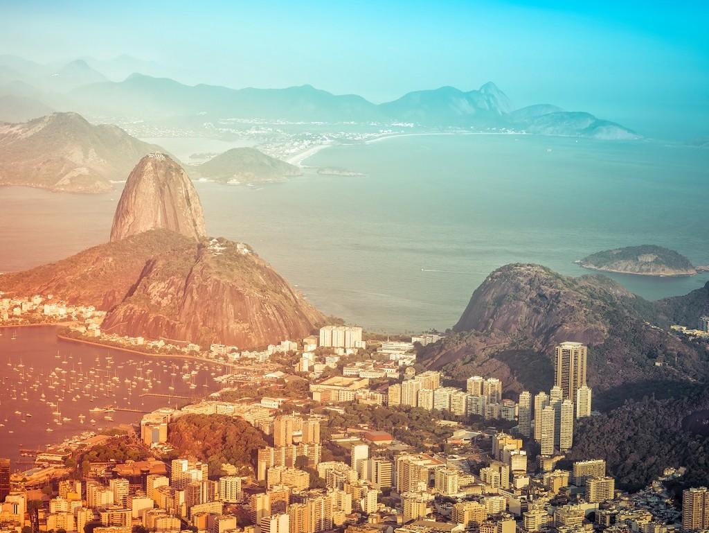Panorama of Rio de Janeiro with light leaks, Brazil